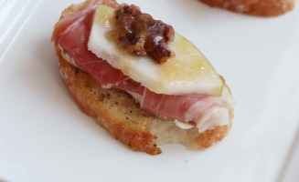 Brie, Proscuitto, Pear, Toasted Pecans with a Honey Drizzle
