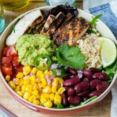 Tex Mex Chicken Burrito Bowls with Cilantro-Lime Rice